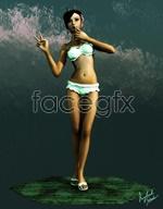 Walking beauty 3D model