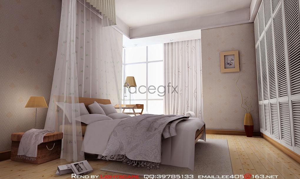 Bright bedroom model 3D model
