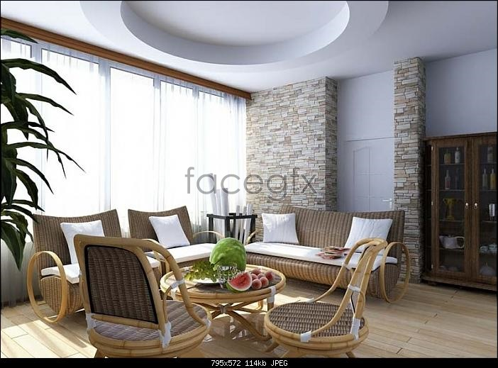 Country style living room models 3D model