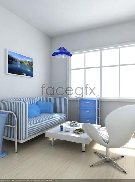 Minimalist Interior corner 3D model