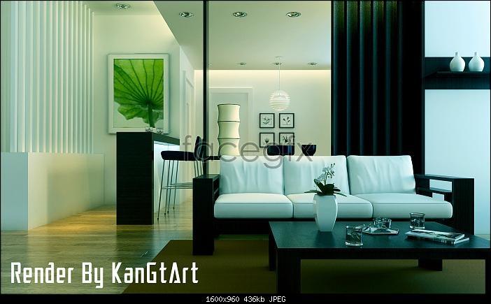 Minimalist living room 3D model