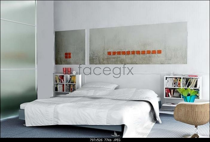Elegant white bedroom 3D model