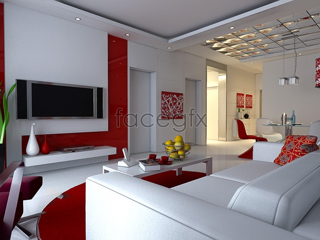 Red-and-white living room models 3D model