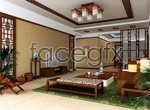 Classical Chinese style living room 3D model