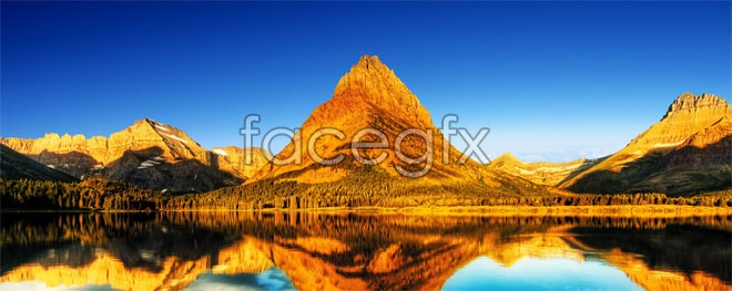 Golden Mountain Lake landscapes HD pictures