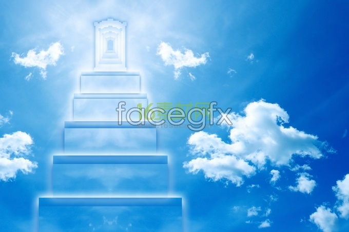 Creative blue sky ladder HD pictures