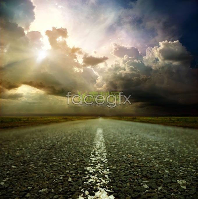 Cloud and road HD Photo