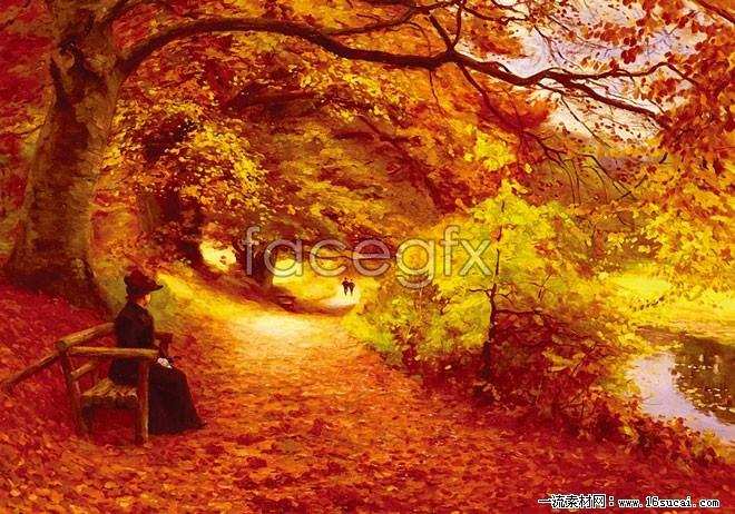 Autumn landscape oil paintings HD pictures