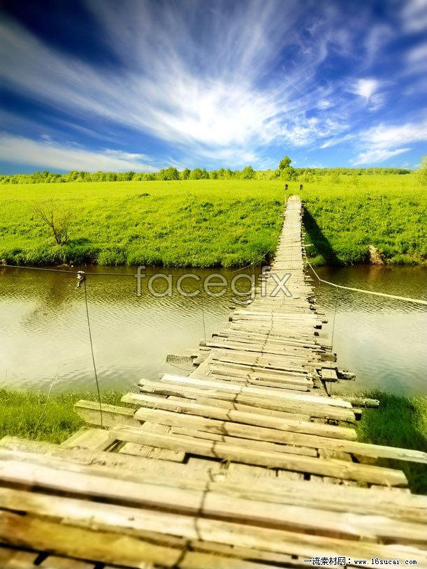 River wooden bridge scenic high definition pictures