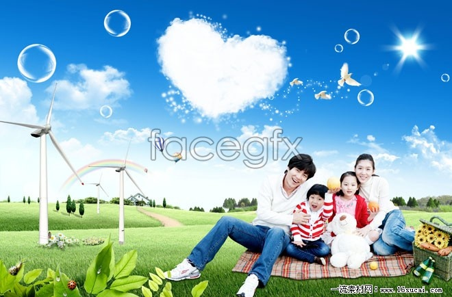 Family of four picnic HD pictures