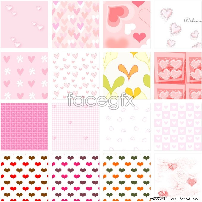 16 cute hearts background Pack