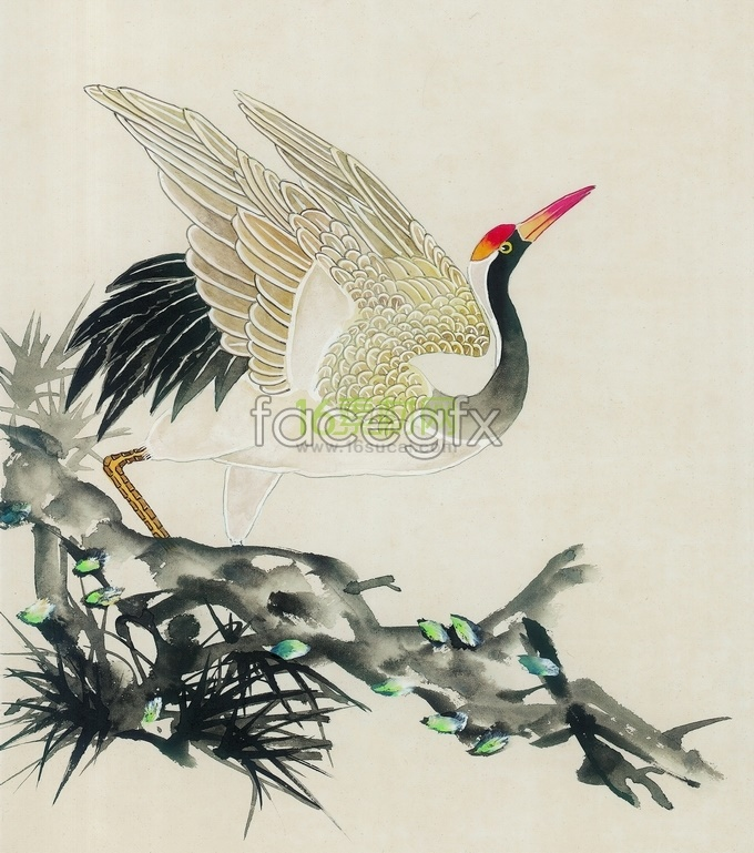 Chinese cranes flying