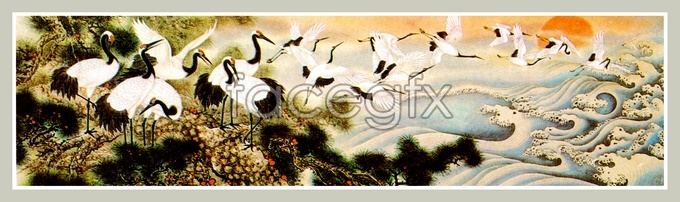 Painting Pine Crane high resolution images
