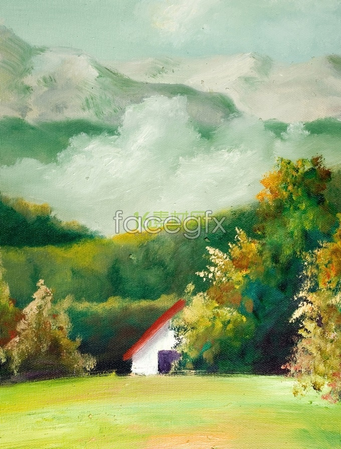 Peaceful countryside watercolor HD pictures