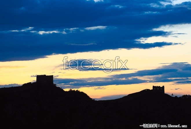 Evening of great wall scenery HD pictures