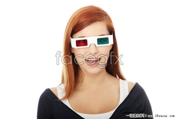 Wearing 3D glasses girls HD pictures