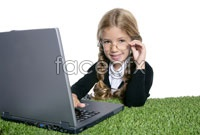 With computer curly girls HD pictures