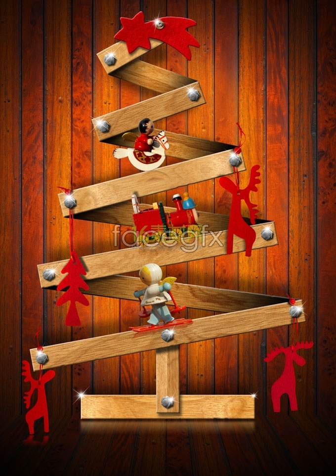 Folding wooden Christmas tree pictures HD