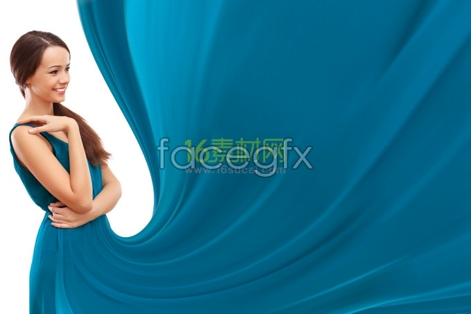 Girls raised blue dress pure HD picture