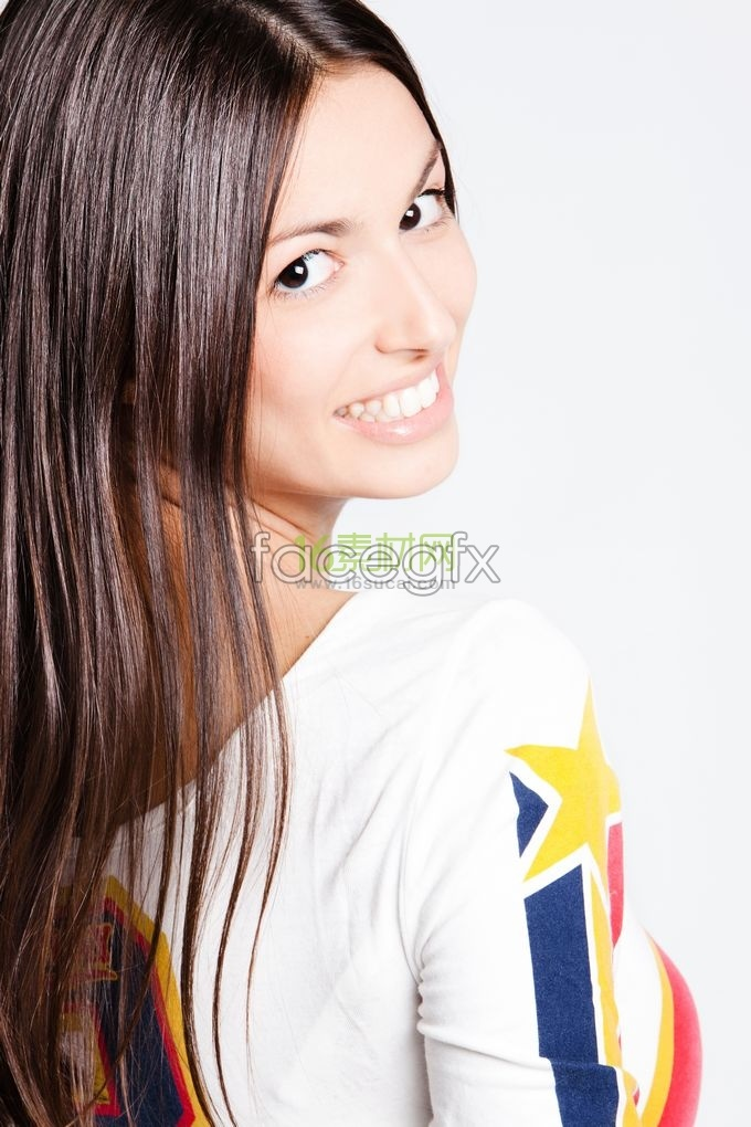Long hair beautiful white teeth smiling HD picture