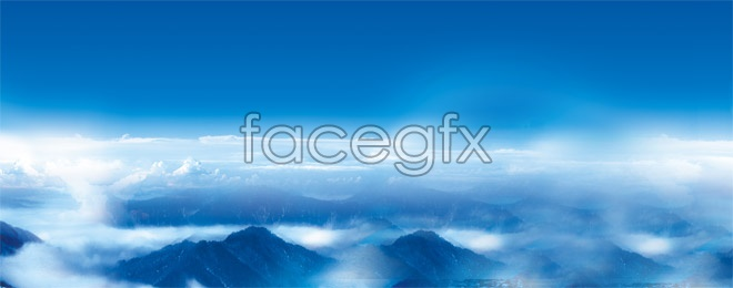 Aircraft aerial scenery of mountain high definition pictures