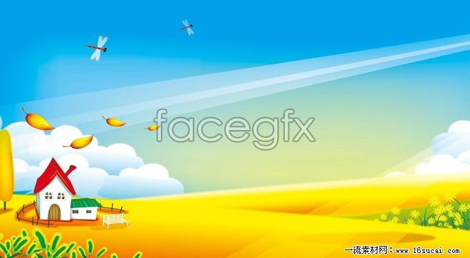 HD cartoon child landscape picture