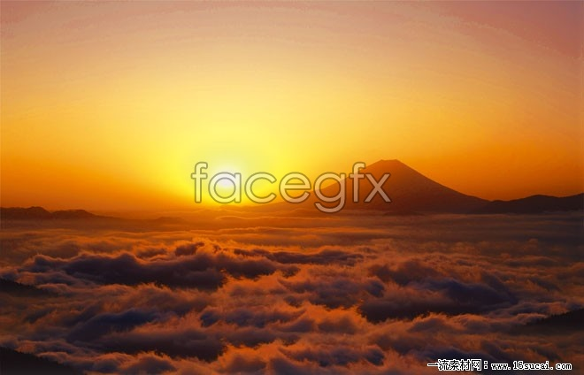 Sunset clouds mountain high definition pictures