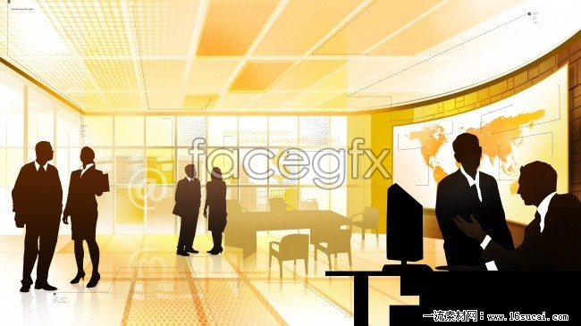 Business people silhouettes HD picture
