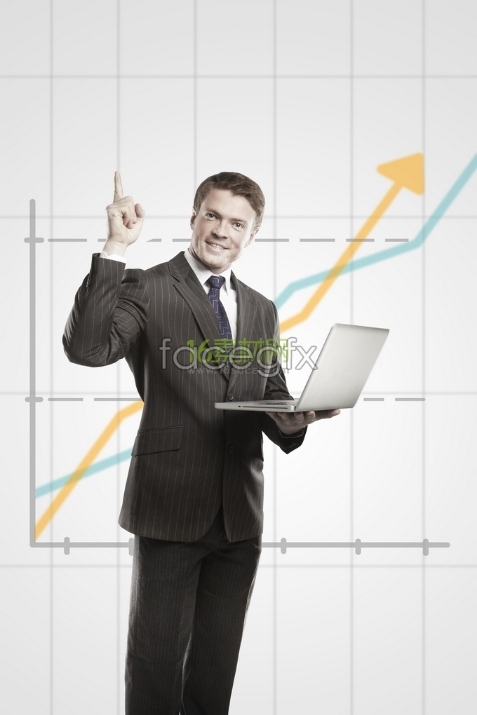 Background business man who is a rising curve HD pictures