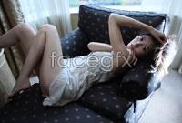 HD big sexy woman on a sofa