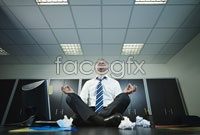 White-collar meditation keeping in high definition pictures