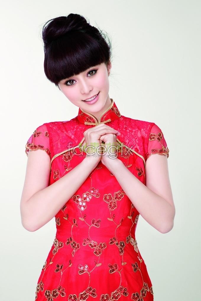 Fan bingbing wear red cheongsam new year high definition pictures