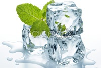 Clear ice and mint leaves HD Photo