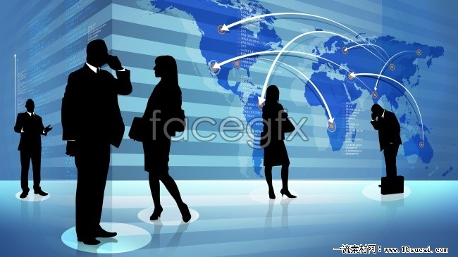 Arrow business people the world map pictures