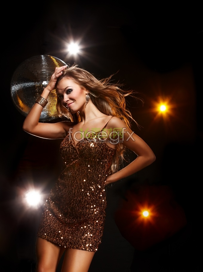 Disco, dance, sexy American beauty