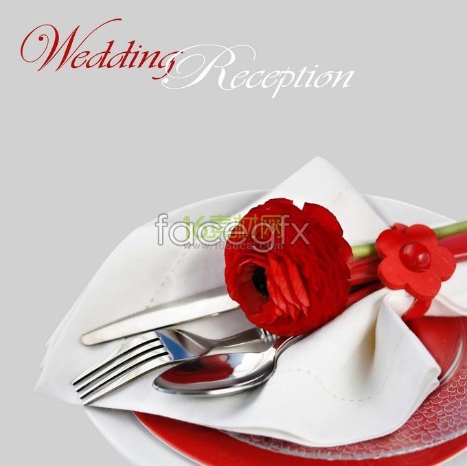 Roses in Western tableware wedding hospitality HD