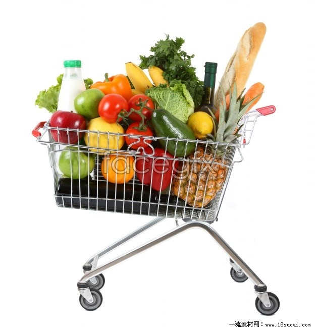 Supermarket shopping cart high definition pictures