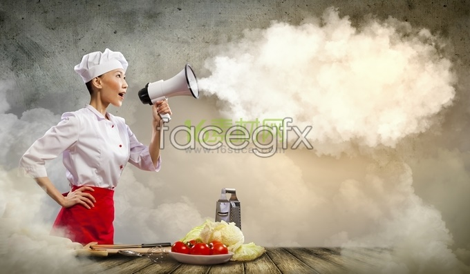 Woman cooks hand Horn HD pictures