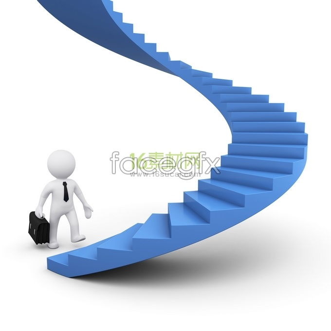 3D business man climbing the ladder HD pictures