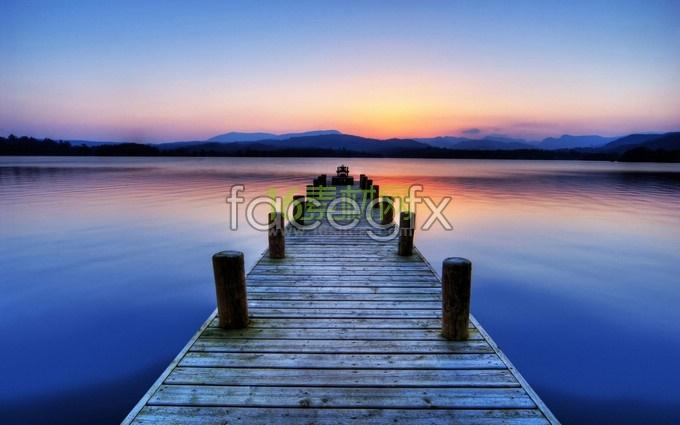 Emersed bridges under sunset HD