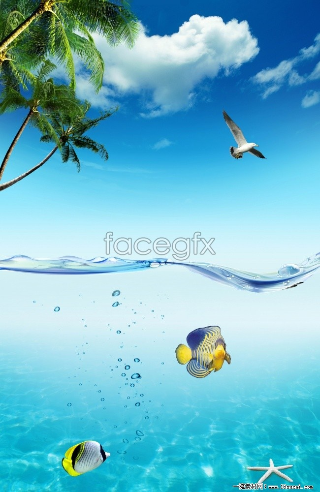 Summer beach poster background high definition pictures