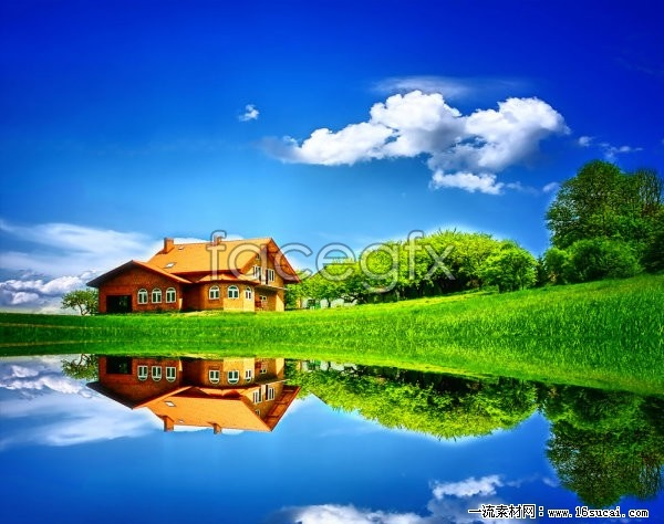 Blue Sky reflection lakes high definition pictures