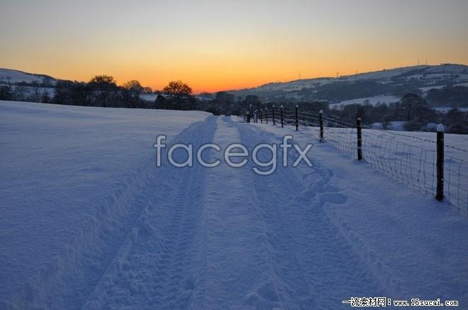 Snow sunset landscape high resolution images