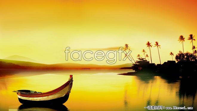 Twilight calm lake view high definition pictures