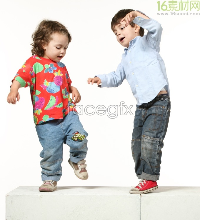 Happy children jumping clear photo