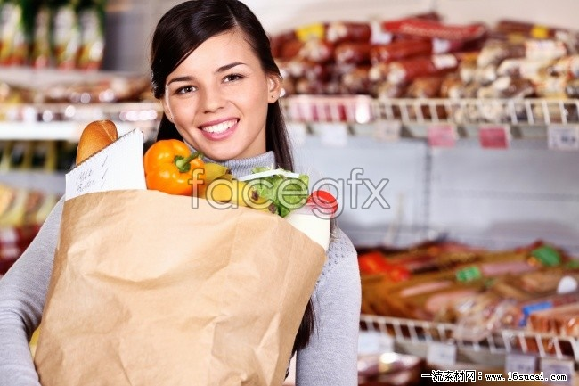 Supermarket shopping girls HD pictures
