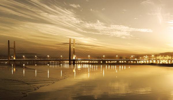 Night view of urban viaduct PSD