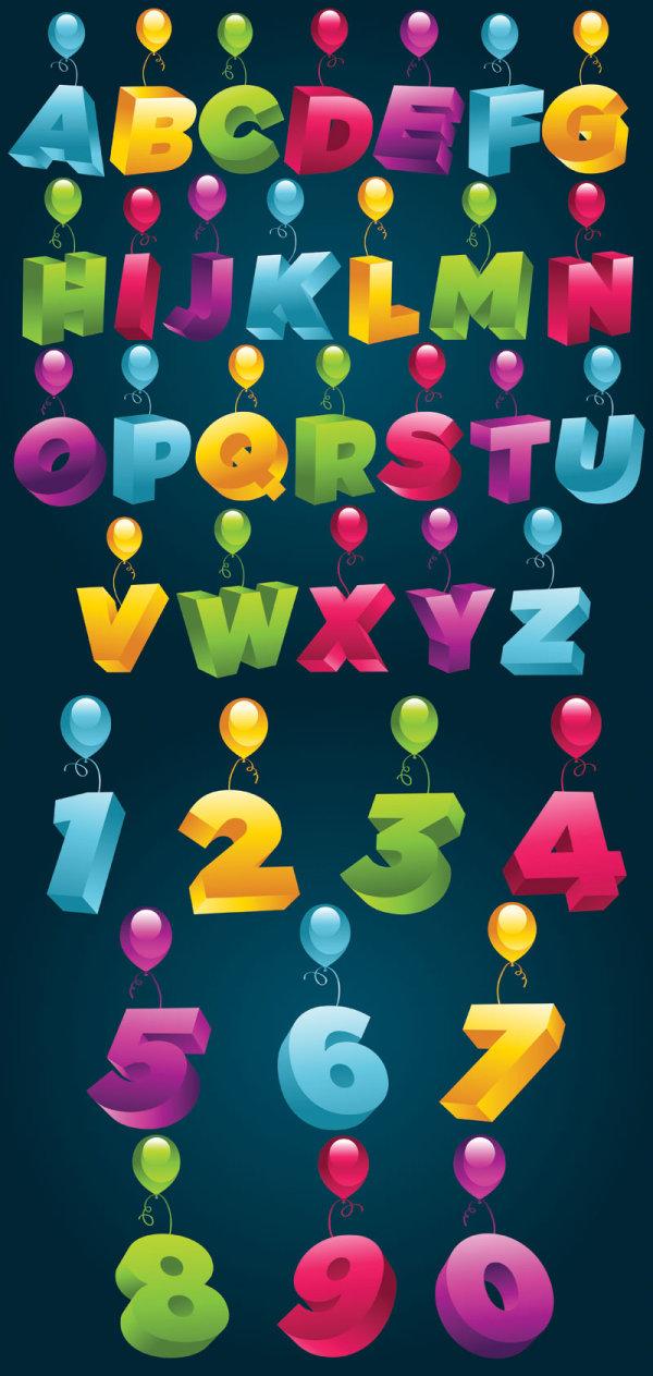 3D 3D alphabet numbers