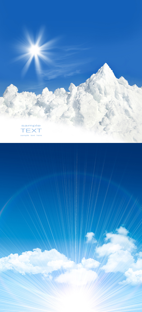 Blue sky and white clouds sunlight PSD