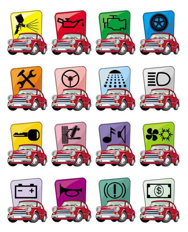 Cartoon cars icons